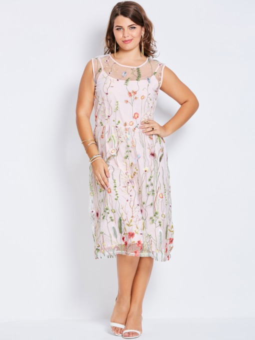 Embroidery A-Line Floral Plus Size Women's Day Dress
