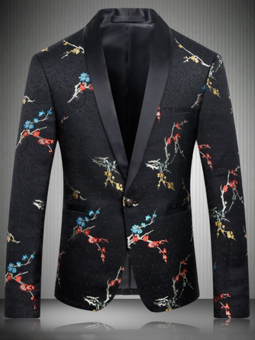 Floral Notched Lapel Slim One Button Men's Blazer