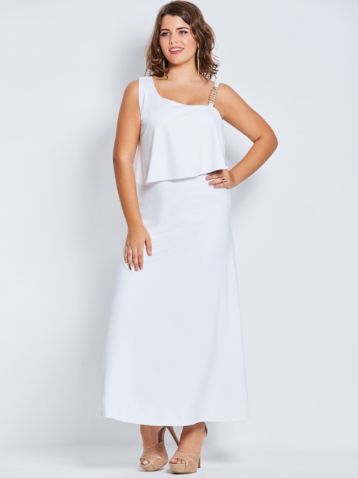 White Double-Layered Plus Size Women's Maxi Dress
