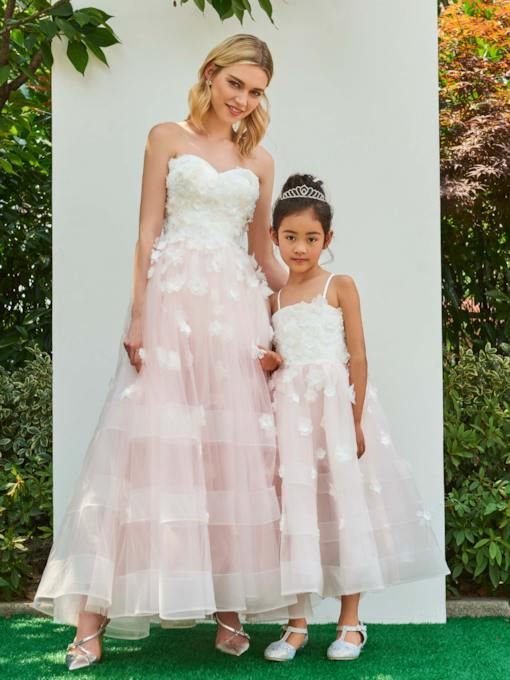 Spaghetti Straps Zipper-Up Ankle-Length Flower Girl Dress