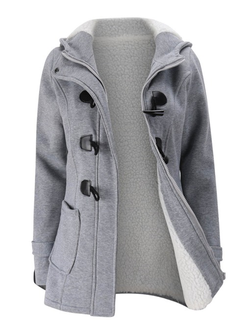 Plain Zipper Long Sleeve Hooded Women's Hoodie