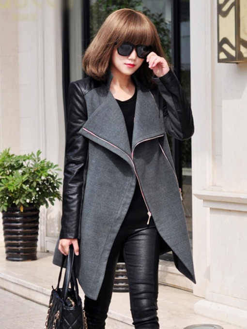 Wool Blends PU Patchwork Zipper Women's Overcoat