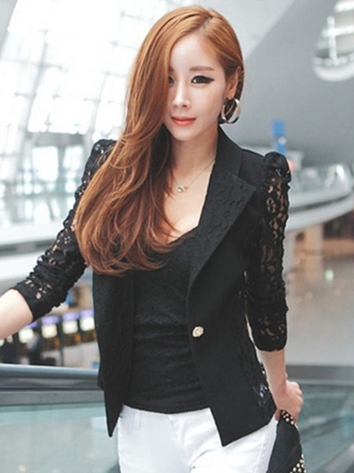 Arm Lace Hollow Slim One Button Women's Blazer