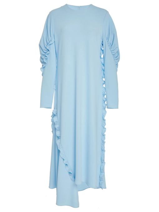 Blue Back Zipper Falbala Women's Maxi Dress