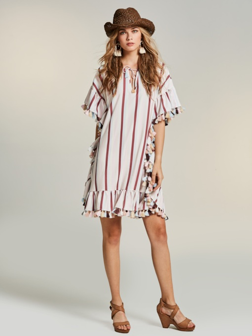 Straight Striped Falbala Women's Day Dress