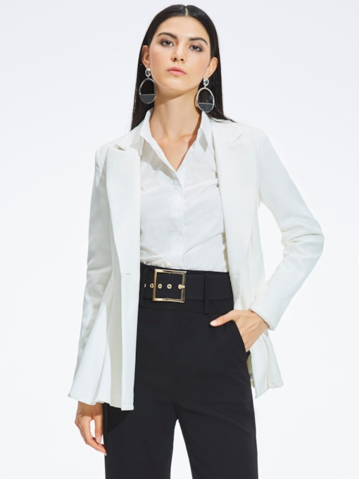 Peplum Solid Color Buttons Women's Blazer