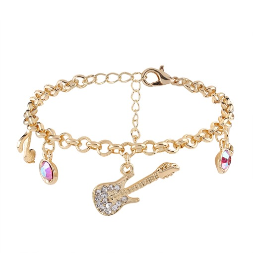 Guitar Musical Notes Diamante Rhinestone Original Bracelet