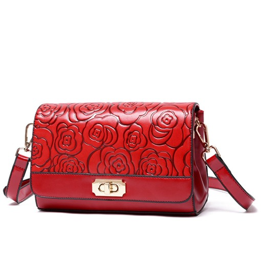 Graceful Floral Embossing Pillow Cross Body Bag