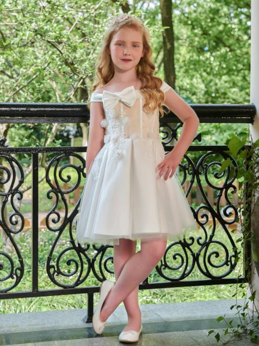 Bowknot Off-The-Shoulder Appliques Flower Girl Dress