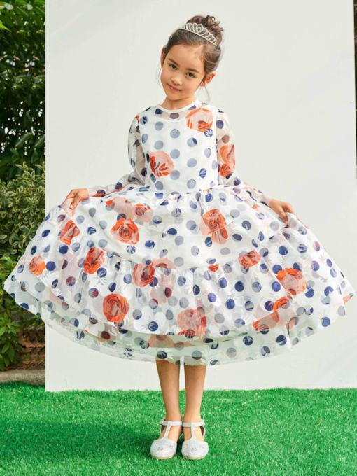 Jewel Neck Long Sleeves Tea-Length Flower Girl Dress