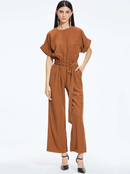 Plain High-Waist Belt Pocket Slim Women's Jumpsuit