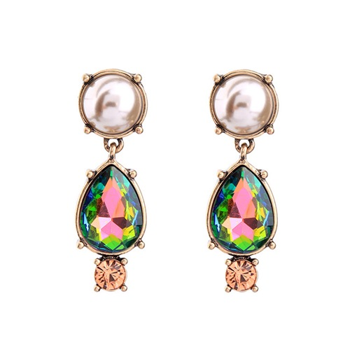 Synthetic Pearl Stones Rhinestone Vintage Earrings