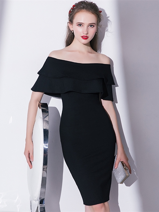 Sheath Off-the-Shoulder Pick-Ups Homecoming Dress