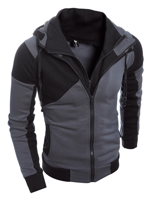 Turtleneck Patchwork Double-Zipper Slim Men's Hoodie