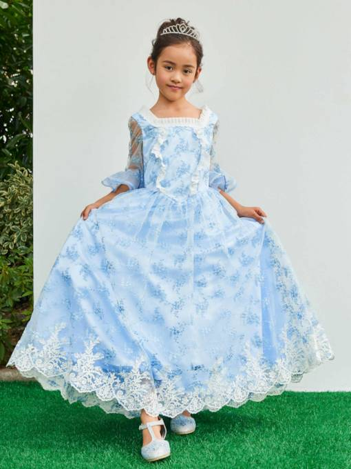 Square Neck Half Sleeves Appliques A-Line Flower Girl Dress