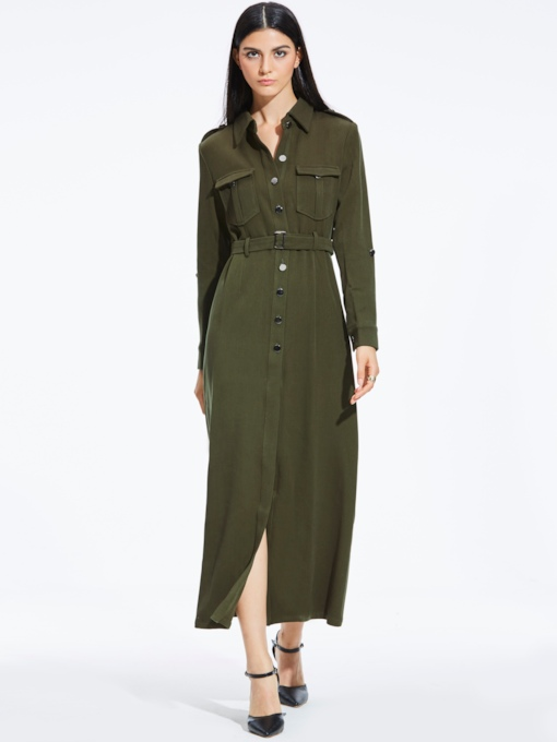 Army Green Lapel Single-Breasted Women's Maxi Dress