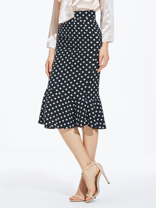 High-Waist Falbala Polka Dots Women's Skirt