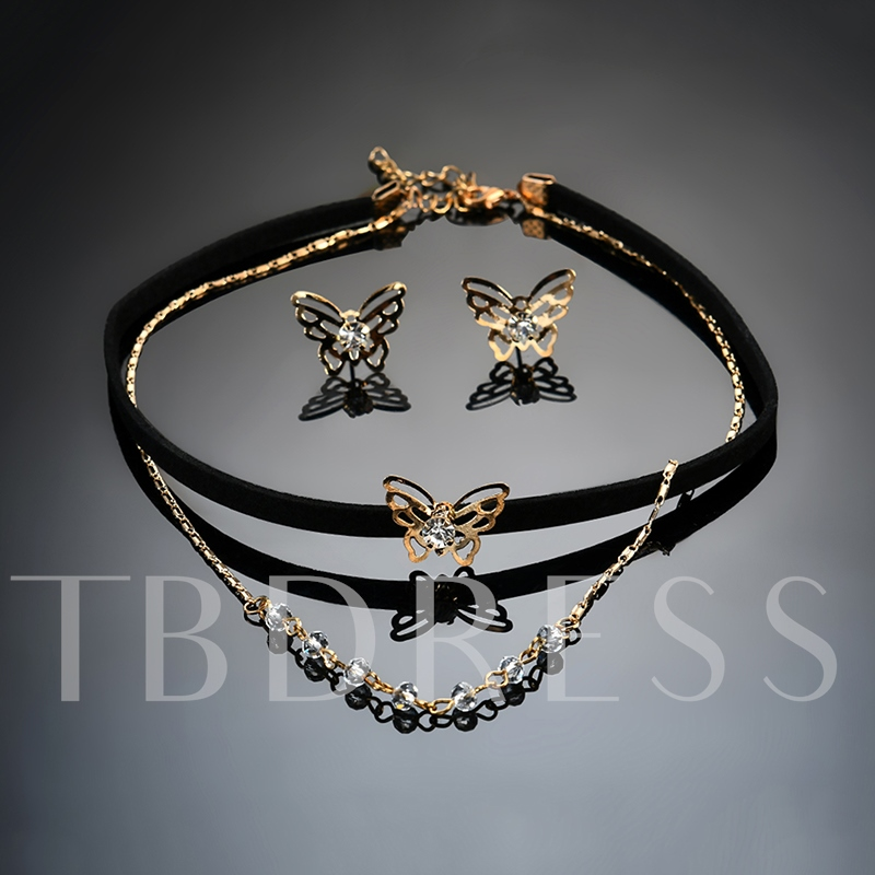 Butterfly Velet Rope Rhinestone Torques Choker Necklace Jewelry Sets