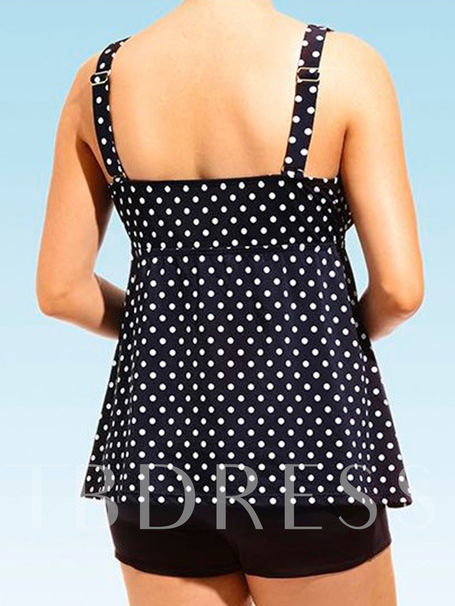 Polka Dots V-Neck Loose Tankini Set