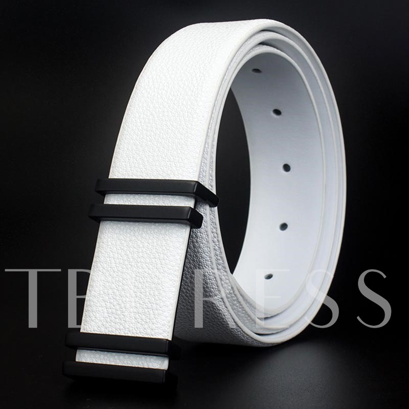 Dual Line Artificial Leather Alloy Smooth Knitted Men's Belts