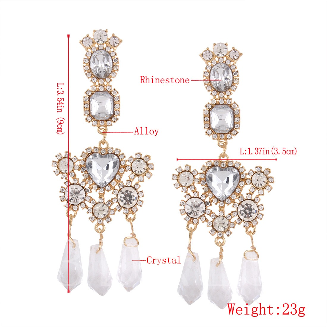 Rhinestone Alloy Artificial Crystal Heart Shaped Earrings