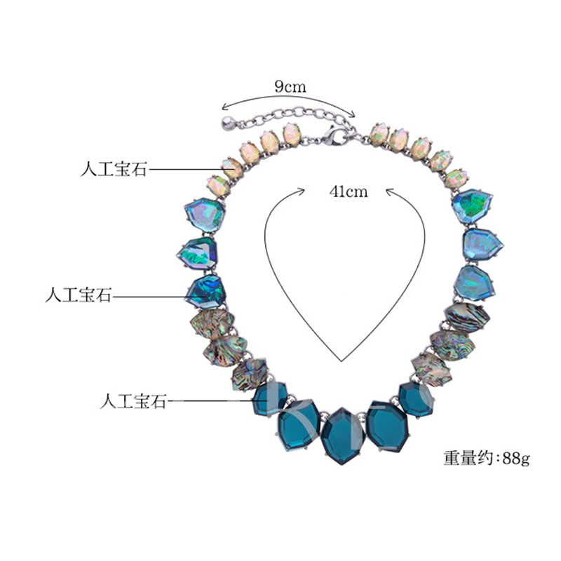 Blue Synthetic Stones Gradient All Match Necklace