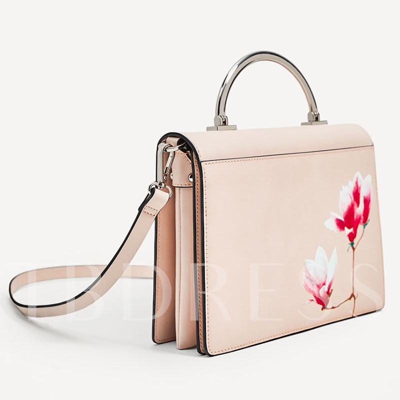 Chinese Style Floral Print PU Tote