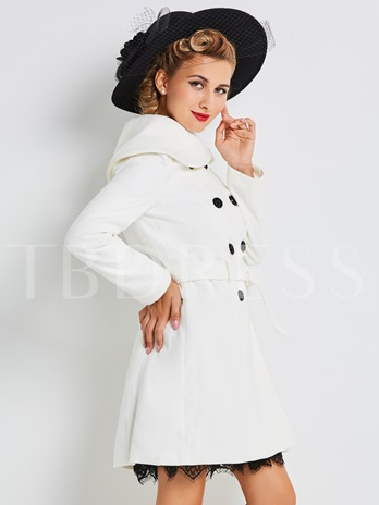 Double-Breasted Heap Collar Women's Trench Coat