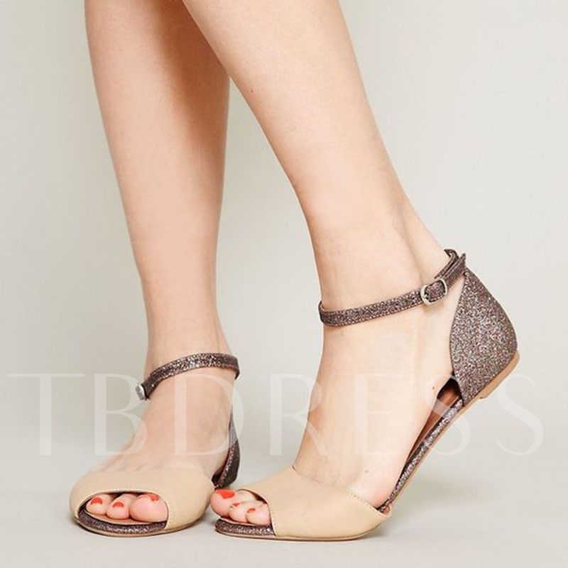 Buy Sequins Color Block Peep Toe Heel Covering Glitter Flat Sandals, Summer, 13309419 for $60.48 in TBDress store