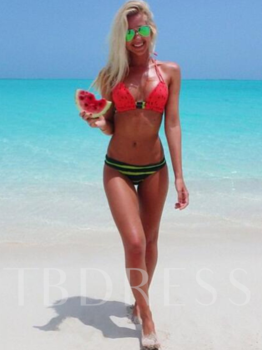 Watermelon Print Lace-Up Halter Bikini Set