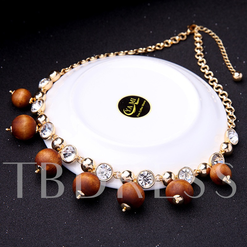 Artificial Crystal Wooden Beads Diamante Alloy Necklace