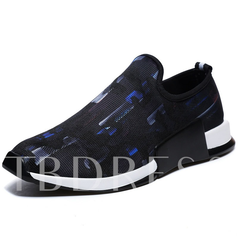 Cotton Cloth Color Block Slip-On Men's Running Shoes