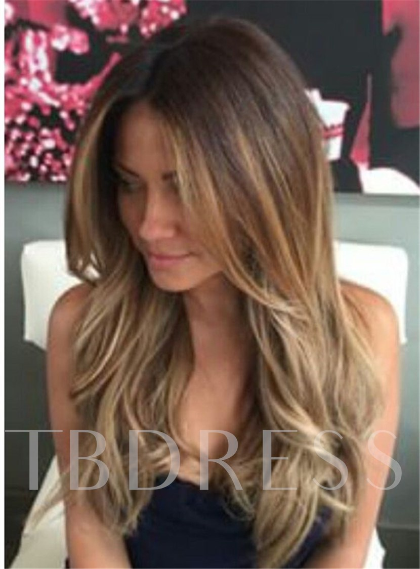 Sexy Women's Long Length Wavy Layered 100% Human Hair Wigs Lace Front Wig 22 Inches