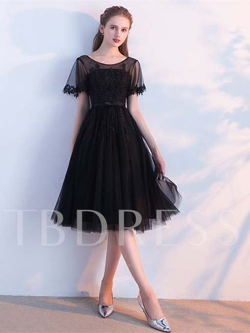 Scoop Appliques A-Line Bowknot Knee-Length Homecoming Dress