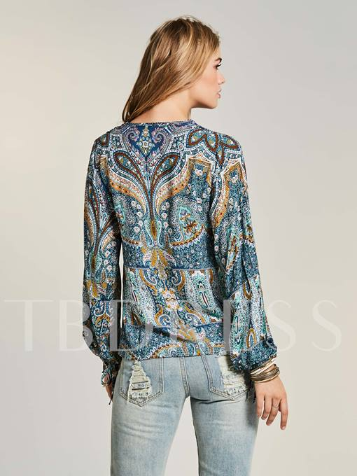 Bohoartist V-Neck Flower Print Women's Blouse