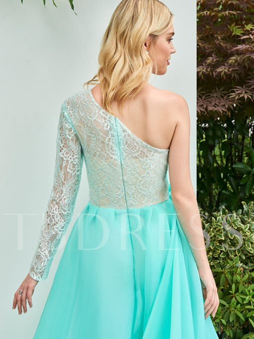 One-Shoulder A-Line Flowers Lace Sweep Train Prom Dress