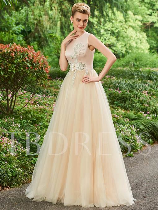 A-Line Appliques Flowers Scoop Floor-Length Evening Dress