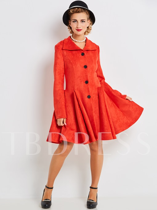 Red Single-Breasted Ruffled Women's Long Sleeve Dress