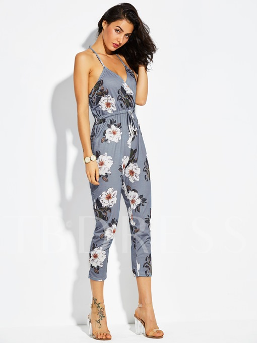 Slim Flower Print Backless Ankle Length Vacation Women's Jumpsuit