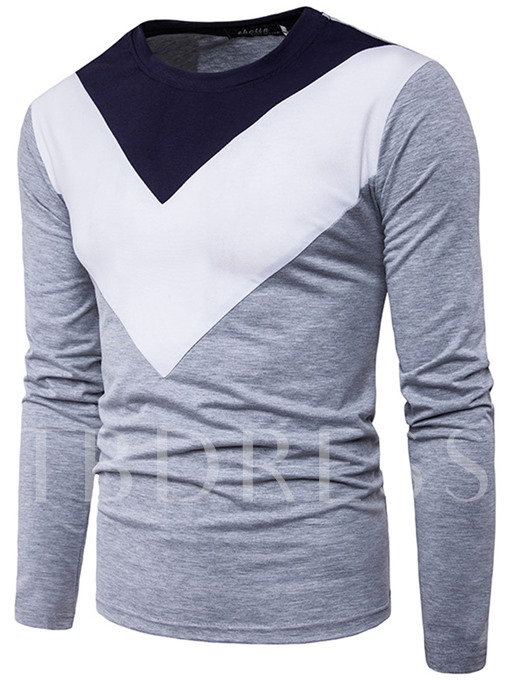 Patchwork Inverted Triangle Slim Men's Long Sleeve T-Shirt