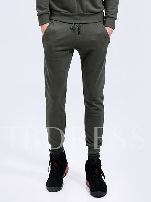 Lace-up Solid Color Skinny Slim Men's Casual Sweatpants