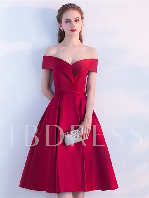 A-Line Sashes Off-the-Shoulder Knee-Length Homecoming Dress
