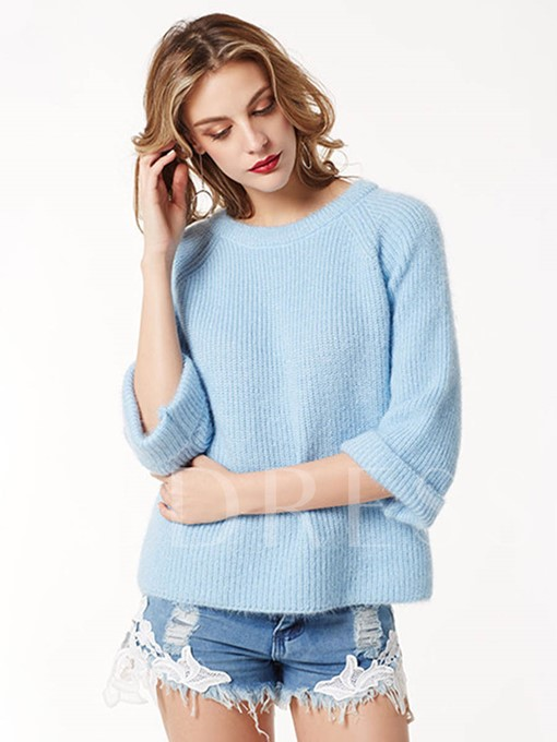 Simple Loose Solid Color Women's Sweater