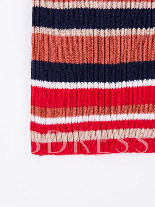 Color Block Stripe Sleeveless Women's Sweater Dress
