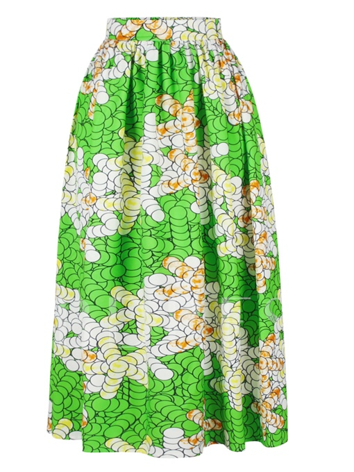 High-Waist Pleated Printing Floor-Length Patchwork Women's Skirt