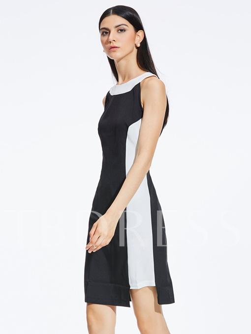 Patchwork Color Block Sleeveless Women's Bodycon Dress