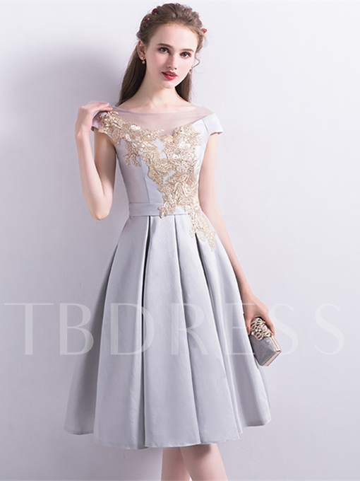 A-Line Appliques Sashes Bateau Homecoming Dress
