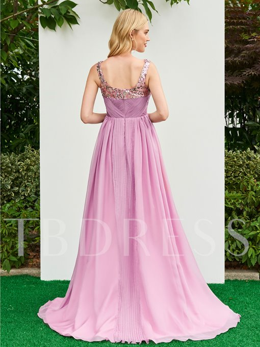 Straps Sequins Ruched A-Line Floor-Length Prom Dress