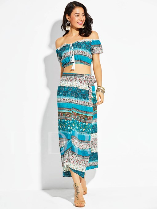 Geometric Pattern Backless Vacation Ankle-Length Women's Skirt Suit