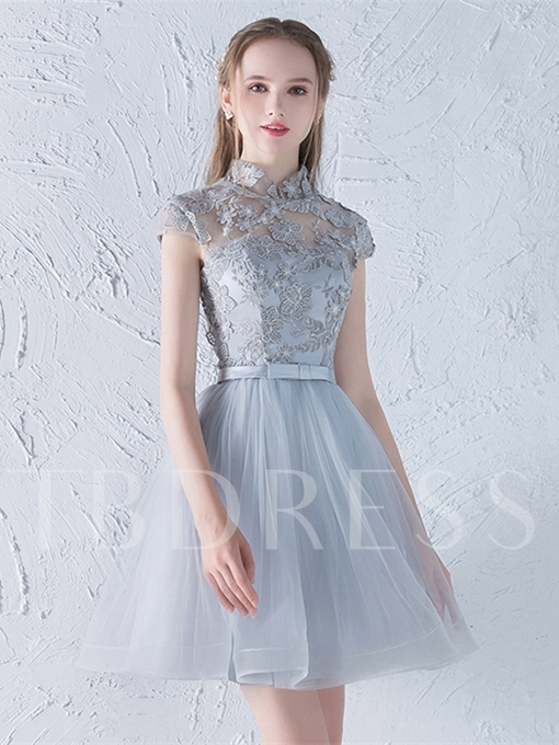 High Neck A-Line Cap Sleeves Appliques Bowknot Sashes Mini Homecoming Dress